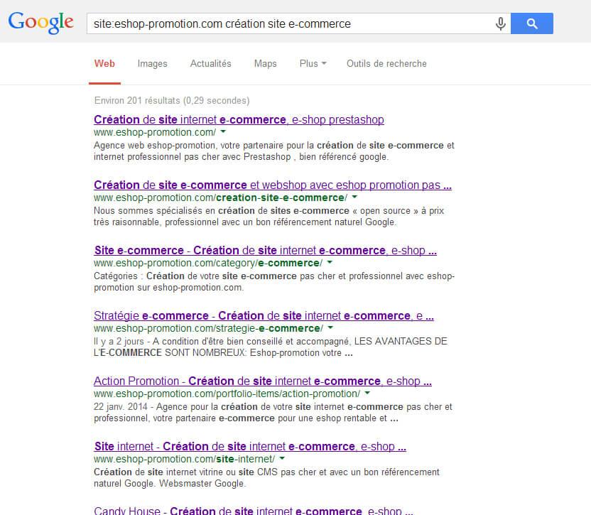 Recherche Google création site e-commerce