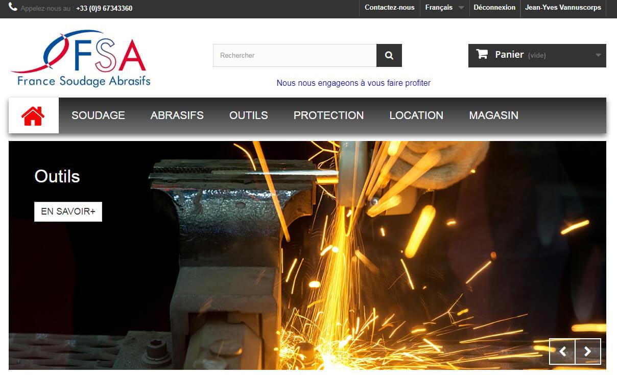Site e-commerce outils soudure et abrasifs