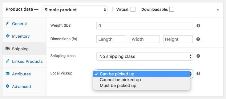 product pickup setting